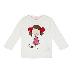 bluezoo - Girl's off white girl printed top
