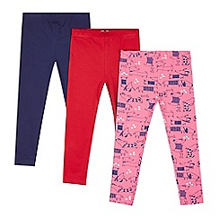 bluezoo - Pack of three girl's red, navy and pink dog printed leggings