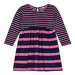 bluezoo - Girl's navy striped empire dress