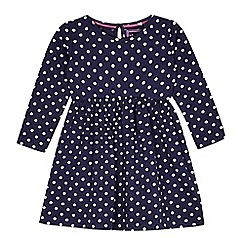 bluezoo - Girl's navy spotted empire dress
