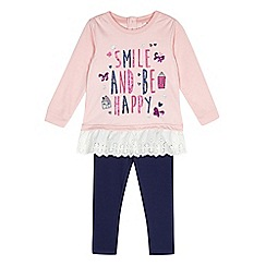 bluezoo - Girl's pink 'Be Happy' peplum top and leggings set