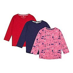 bluezoo - Pack of three girl's red, navy and pink dog printed tops