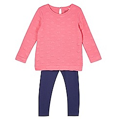 bluezoo - Girl's pink spotted tunic and leggings set