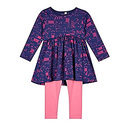 bluezoo - Girl's navy dog dress and leggings set