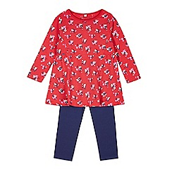 bluezoo - Girl's red floral dress and leggings set
