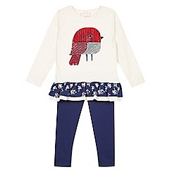 bluezoo - Girl's cream robin tunic and leggings set