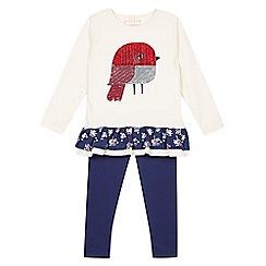 bluezoo - Girl's cream robin tunic and leggings set