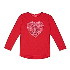 bluezoo - Girl's red heart print t-shirt