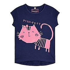 bluezoo - Girl's navy cat print t-shirt