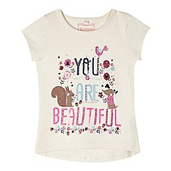 bluezoo - Girl's natural 'Beautiful' print t-shirt