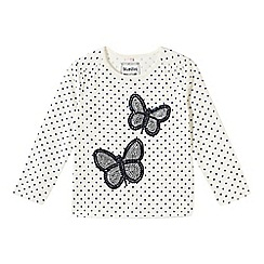 bluezoo - Girl's off white spotted butterflies top