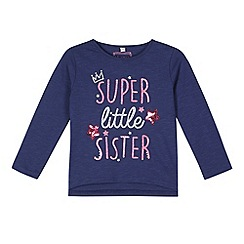 bluezoo - Girl's navy 'Super Little Sister' sequin t-shirt