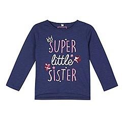 bluezoo - Girl's navy 'Super Little Sister' sequin t-shirt