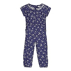 bluezoo - Girls' navy star sequinned collar jumpsuit