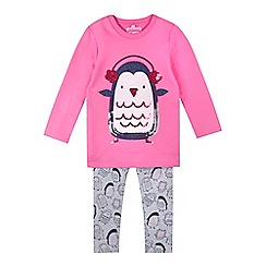 bluezoo - Girls' pink penguin top and bottoms set