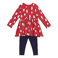 bluezoo - Baby girls' red penguin dress and navy leggings set