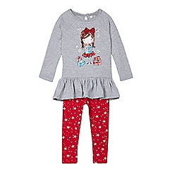 bluezoo - Girls' grey Christmas top and leggings