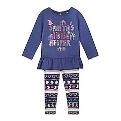 bluezoo - Girls' navy 'Santa's Little Helper' top and leggings set