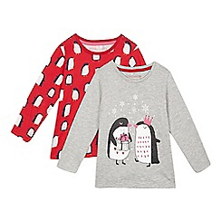 bluezoo - Pack of two girls' grey penguin tops