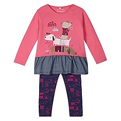 bluezoo - Girl's pink sausage dog printed tunic and leggings set