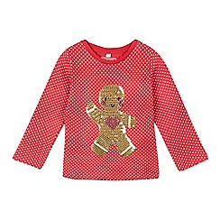 bluezoo - Girls' red polka dot sequinned gingerbread top