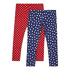 bluezoo - Pack of two girls' purple and red heart leggings