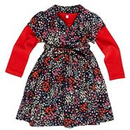 Designer girl's navy floral print dress and red top