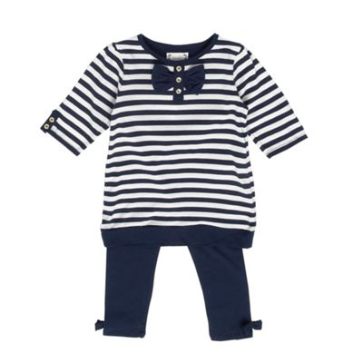 Girls Navy Striped Tunic Top And Leggings