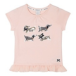 J by Jasper Conran - Designer girl's pink sequinned dog t-shirt