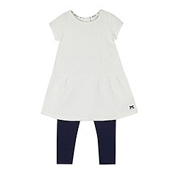J by Jasper Conran - Designer girl's white quilted dress and leggings set