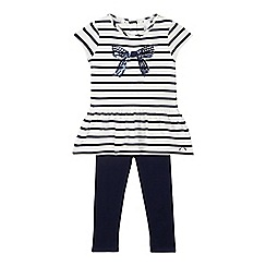J by Jasper Conran - Designer girl's navy bow top and leggings set