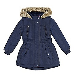 J by Jasper Conran - Designer girl's navy faux fur lined padded coat