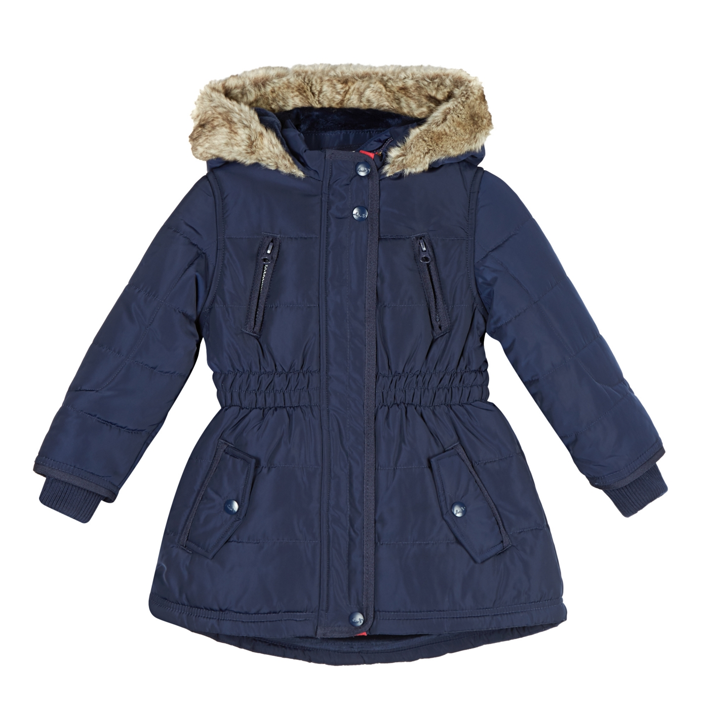 fae0bbe79 J by Jasper Conran Designer girls navy faux fur lined padded coat on ...