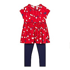 J by Jasper Conran - Designer girl's red balloons dress and leggings set