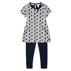 J by Jasper Conran - Girl's navy jacquard floral tunic and leggings set