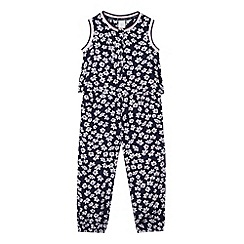 J by Jasper Conran - Designer girl's navy daisy print jumpsuit