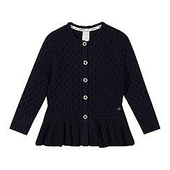 J by Jasper Conran - Designer girl's navy chunky peplum cardigan