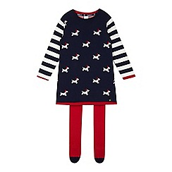 J by Jasper Conran - Designer girl's navy dog knitted dress and tights set