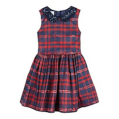 J by Jasper Conran - Girls' navy and red checked dress