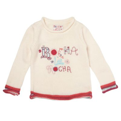 Girls Cream Logo Jumper