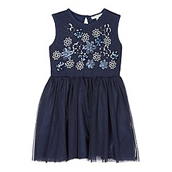 RJR.John Rocha - Designer girl's navy sequin flower bodice dress