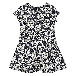 RJR.John Rocha - Designer girl's navy textured floral jersey dress