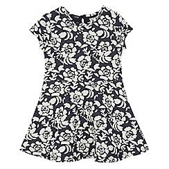 RJR.John Rocha - Designer girl's navy textured floral jersey dress
