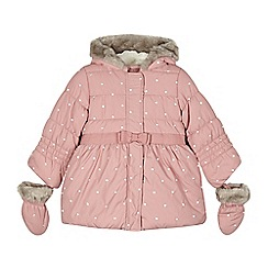 RJR.John Rocha - Designer girl's pink embroidered padded coat and mittens