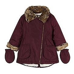 RJR.John Rocha - Designer girl's plum parka coat with mittens