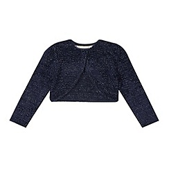 RJR.John Rocha - Designer girl's navy metallic eyelash knit cardigan