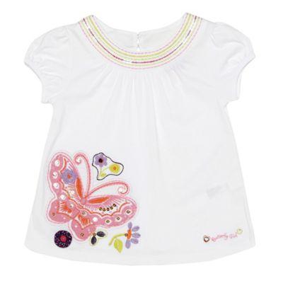Girls white butterfly print t-shirt