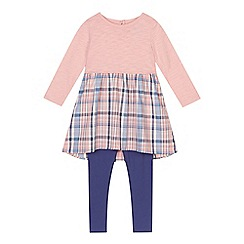 Mantaray - Girl's pink checked tunic and blue leggings set