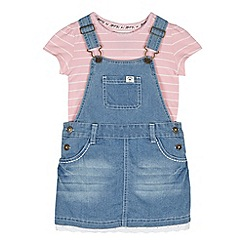 Mantaray - Girl's blue denim pinafore and t-shirt set