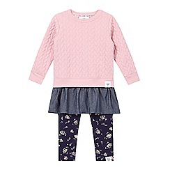 Mantaray - Girl's pink quilted sweater and leggings set